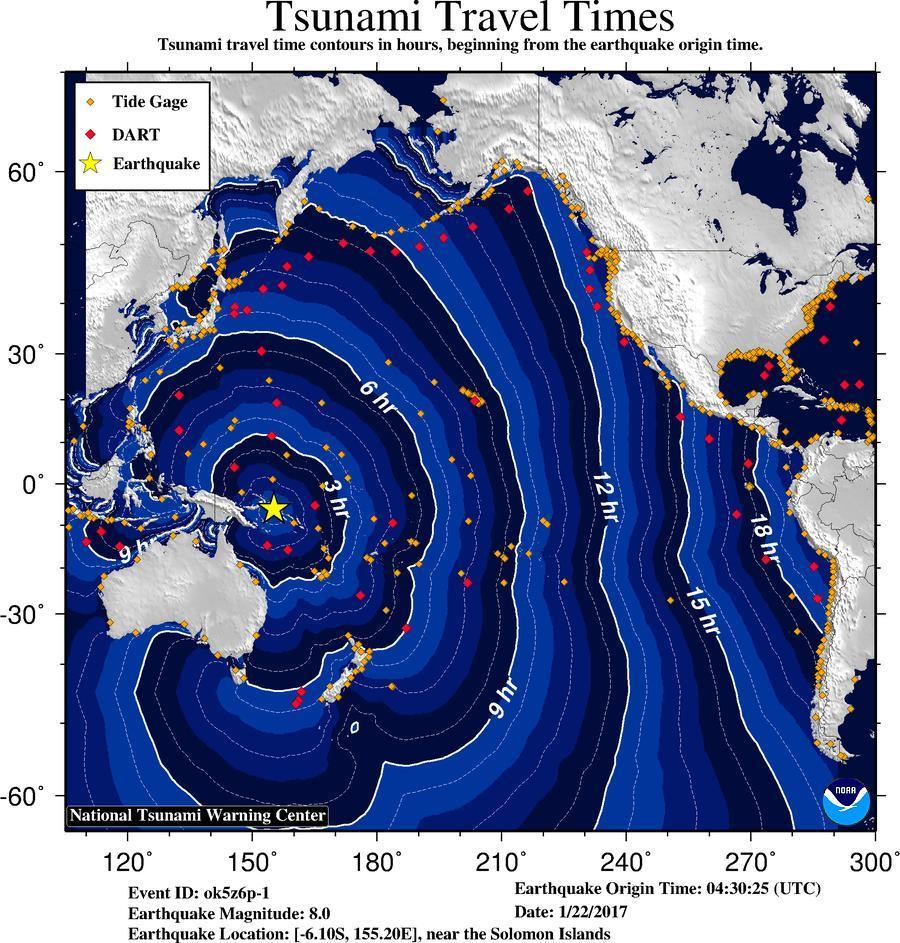 US Tsunami Warning Centers - Us travel warnings map 2017