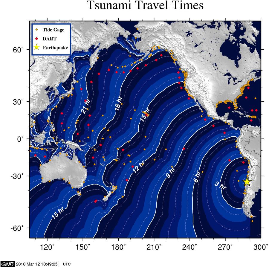 a strong earthquake with a moment magnitude of 6 9 usgs magnitude occurred at 11 39 44 utc 11 march 2010 day 070 and was located 85 miles 140 km ssw of